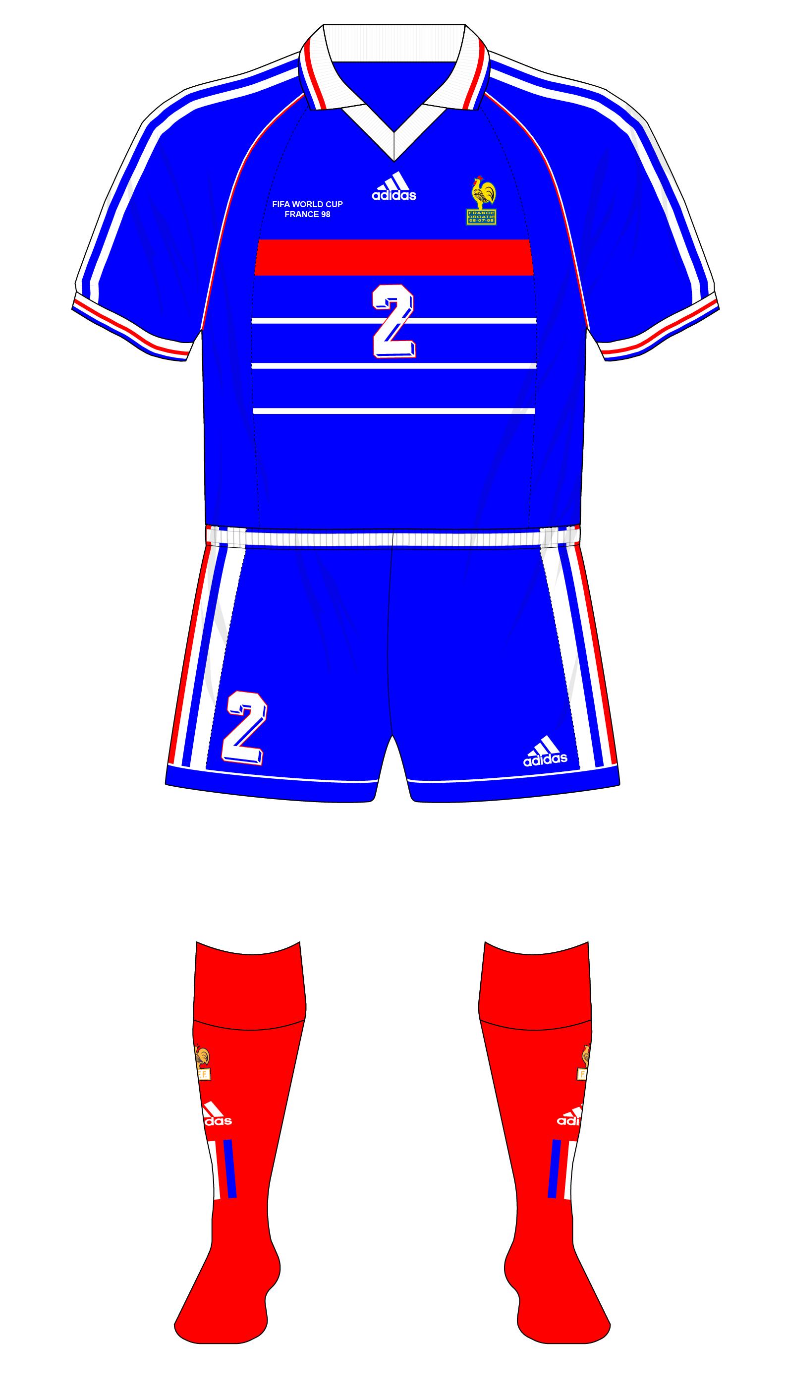 free shipping 925f1 4f439 France-1998-adidas-home-kit-blue-shorts-Croatia-01 | RB Jerseys